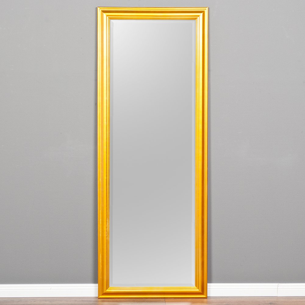 B-Ware Wandspiegel ONDA 160x60cm Glanz Gold Spiegel Holzrahmen schlicht modern