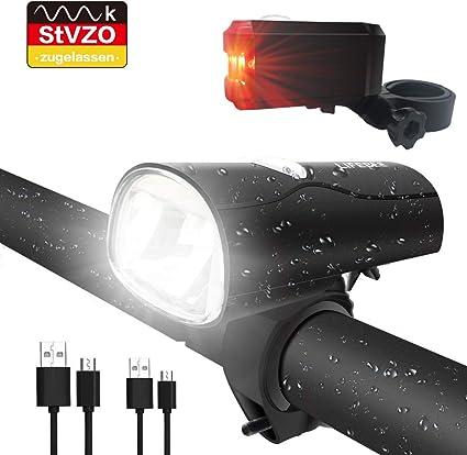 2 USB  Wiederaufladbare LED Fahrradlampe Fahrradlampe Set Frontlicht Rücklicht