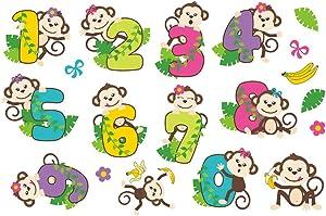 Monbedos 1Pcs Monkey Animal Digital Cartoon Wall Sticker Early Childhood Children's Room Self-Adhesive Mural Wall Decal Children Baby House/Class Room Decor