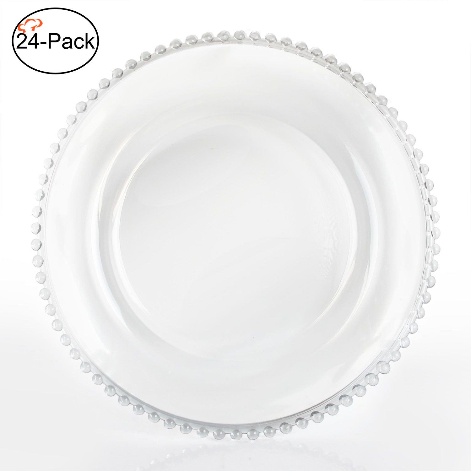 Tiger Chef 13-inch Clear Round Beaded Glass Charger Plates Set of 2,4,6, 12 or 24 Dinner Chargers (24-Pack)