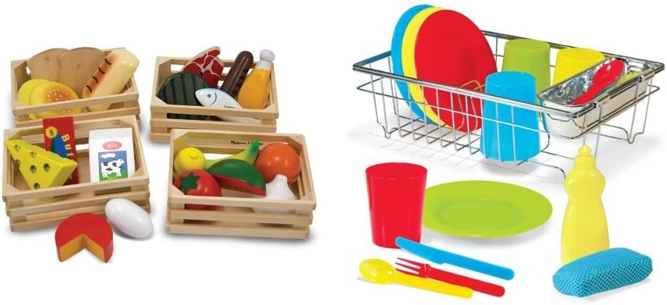 Melissa & Doug Food Groups - 21 Hand-Painted Wooden Pieces and 4 Crates with Melissa & Doug Let's Play House Wash and Dry Dish Set (24 pcs) Bundle