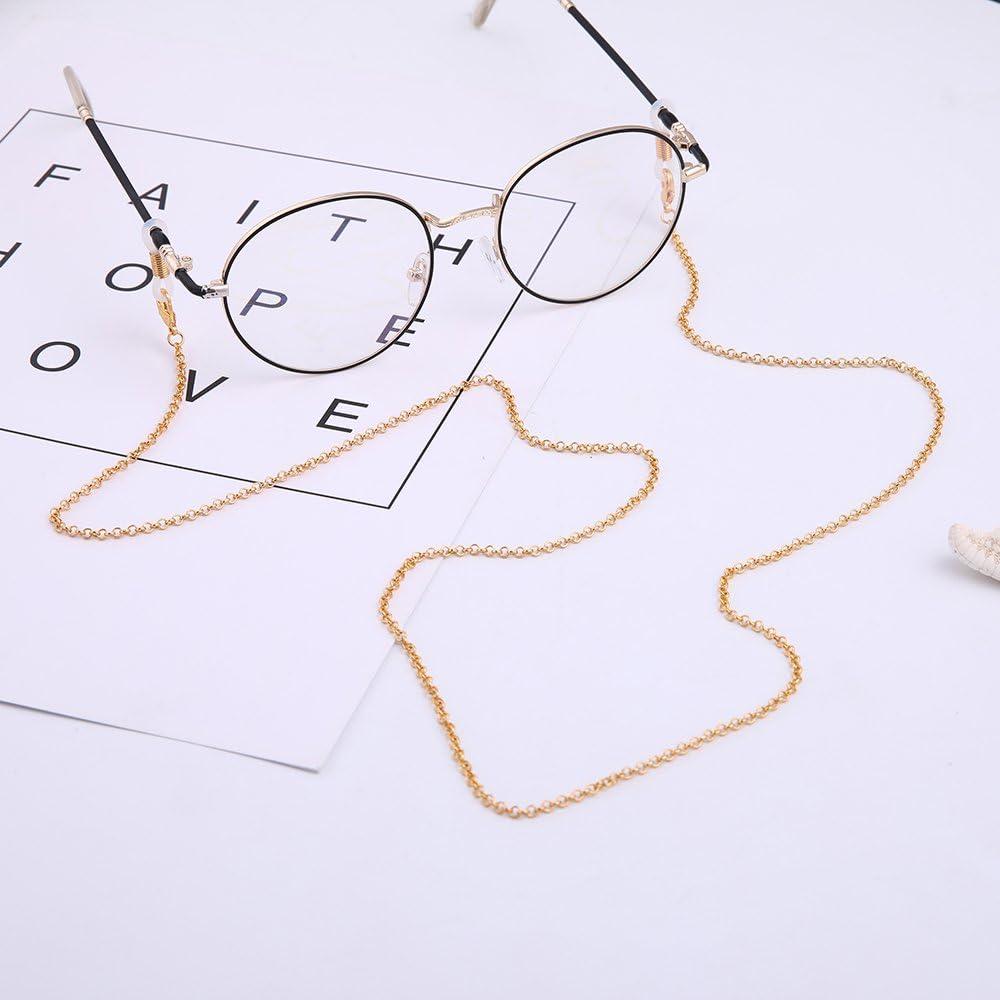 Cooltime Cha/îne de lunettes /à fermoir mousqueton pour homme et femme Dor/é Argent/é