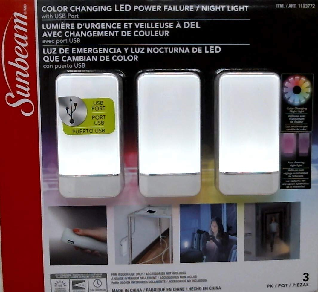 Sunbeam Color Changing Led Power Failure Night Light 3 Pk (White) - - Amazon.com