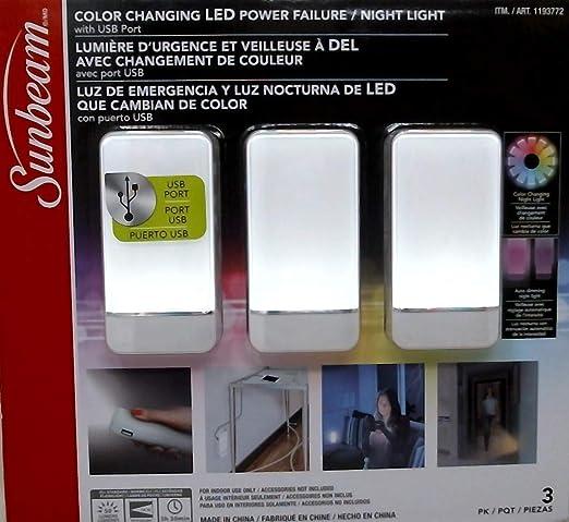 Sunbeam Color Changing Led Power Failure Night Light 3 Pk (White)
