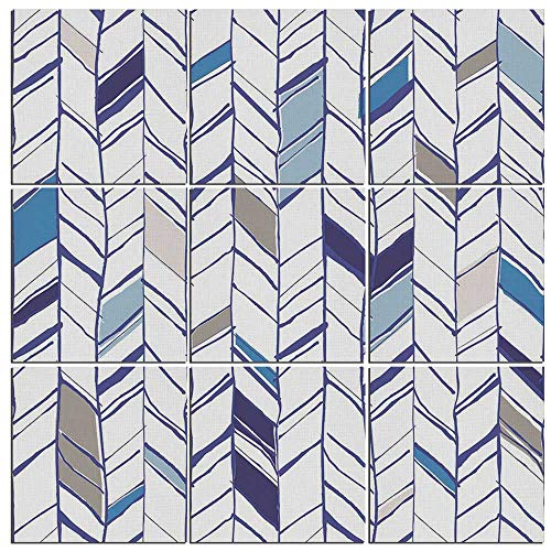 - Canvas Wall Art Navy 9 Pieces Canvas,Tribal Zigzag Lines Pattern in Various Shades Geometric Boho Sketch Print Giclee Prints for Home Decoration,36
