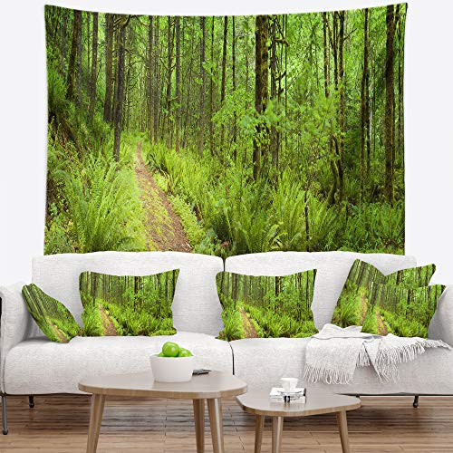 'Lush Path Columbia River' Forest Tapestry Blanket Décor Wall Art for Home and Office, Large: 60 in. x 50 in, Created on Lightweight Polyester Fabric - DesignArt TAP11137-60-50