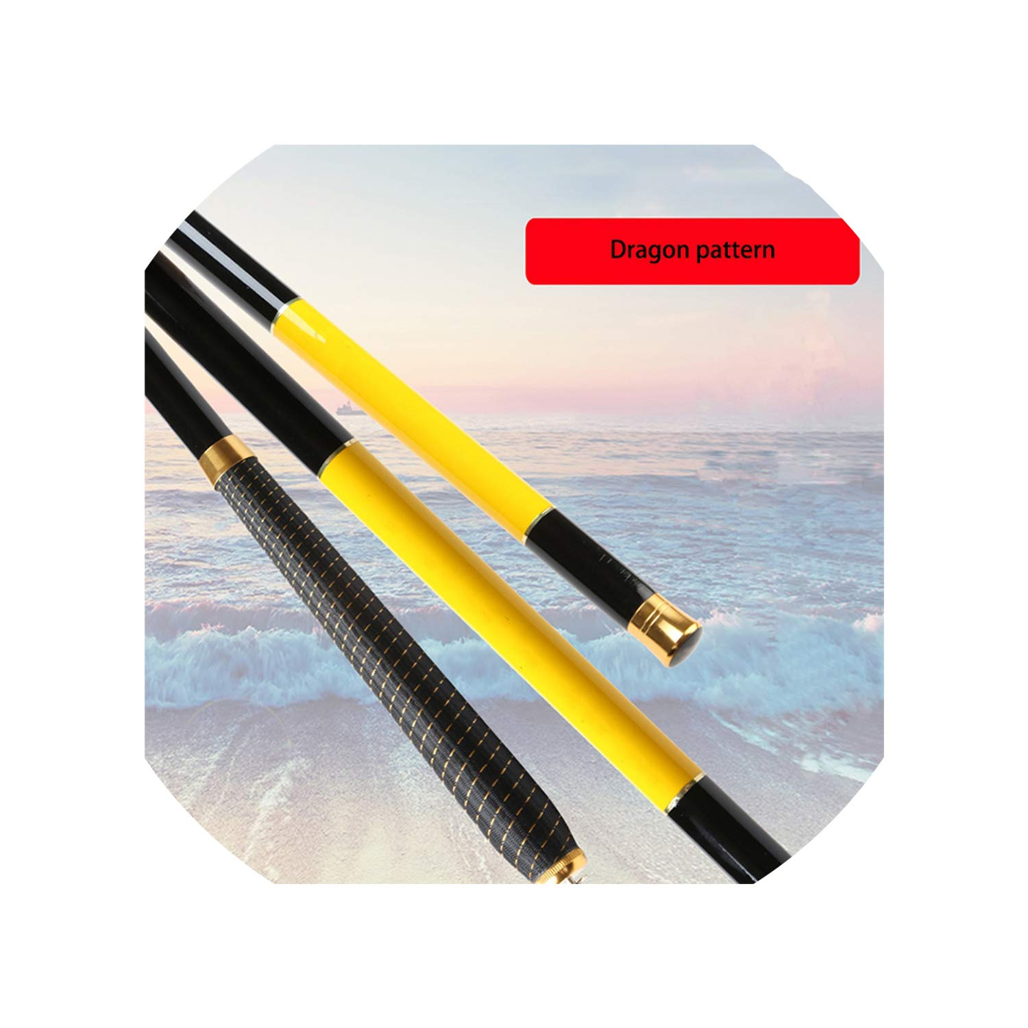 YELLOW 6.3m Super Hard Telescopic Fishing Rod 99% Carbon Fiber 2.47.2M Carbon Spinning Pole Sea Fishing Stick Metal Ring