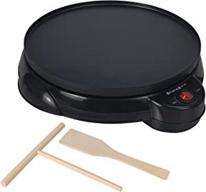 """Health and HomeElectric Crepe Maker -12"""" Crepe Pan,Crepe Griddle, Non-stick Pancake Maker - Easy Clean & Includes Wooden Spatula, Batter Spreader"""