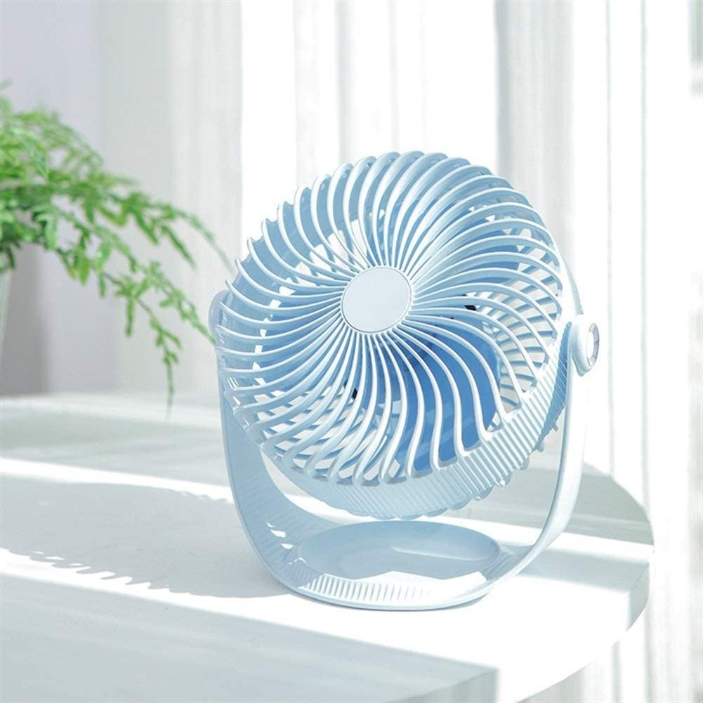 Color : Pink Office Shengjuanfeng USB Fans Portable Fan Seven-inch Striped Desktop Handheld Mini Fans Small Cooling Free Rotation USB Charging for Home Outdoor Travel