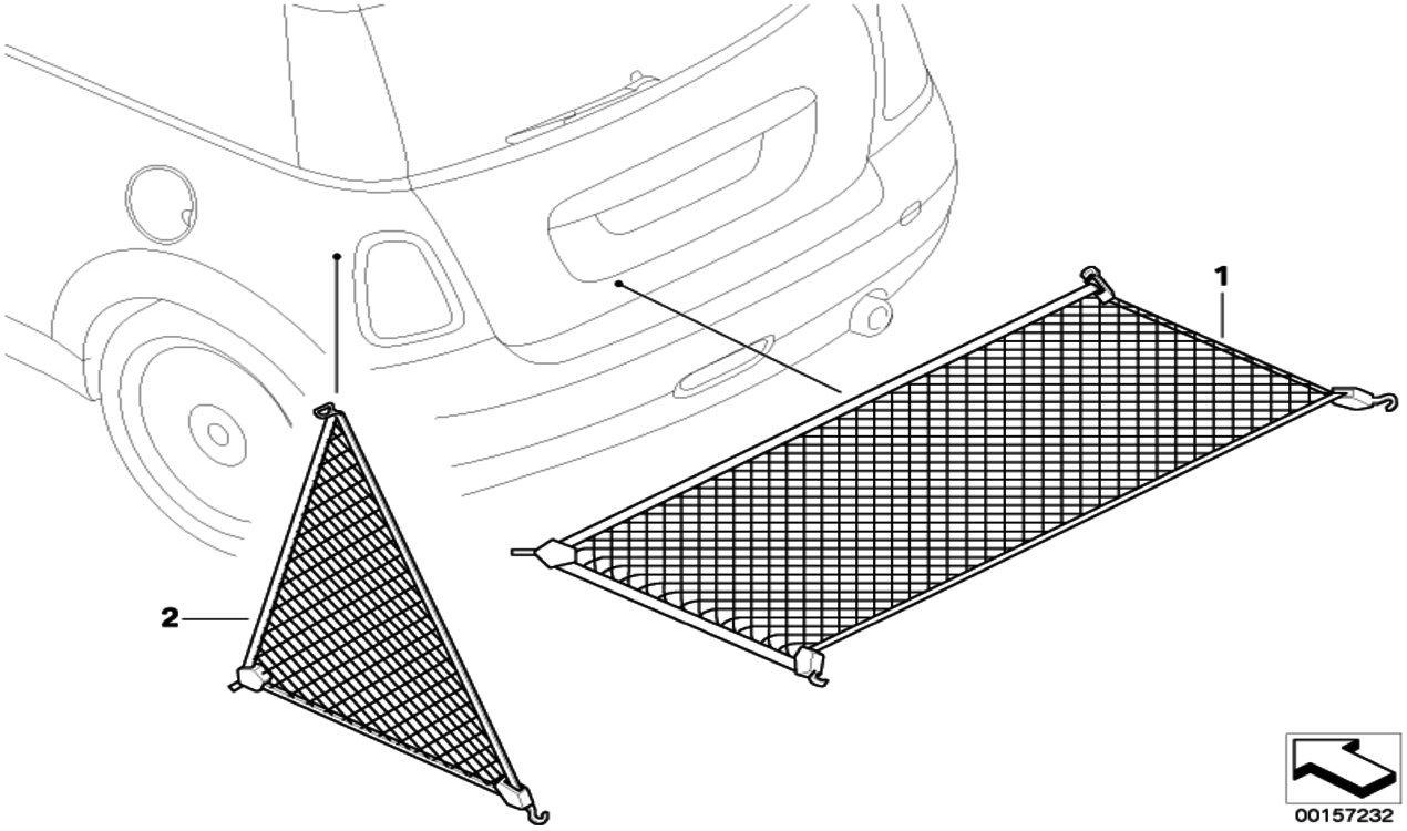 MINI Genuine Car Boot Floor Luggage//Cargo Safety Net R56//R57//R58//R59 51472754568