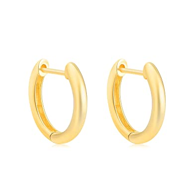63e89919793f5 SISGEM Solid 18k Gold Hoop Earrings for Women Real Gold, Small Yellow Gold  Huggie Hoops for Girls