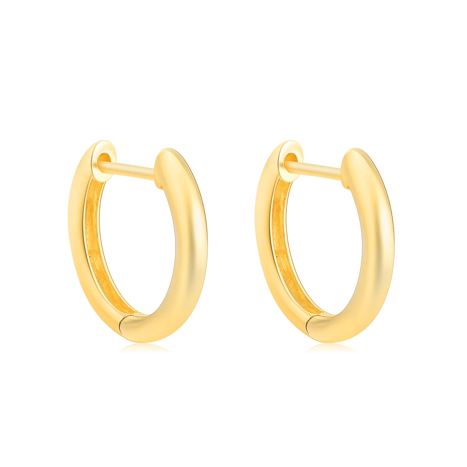 SISGEM Solid 18k Gold Hoop Earrings for Women Real Gold, Small Yellow Gold Huggie Hoops for Girls (Thickness: 1.8 mm)