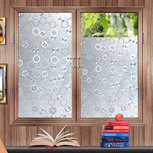 Decorative Window Films 17.7by78.7Inch No-glue Static Frosted Window Film Privacy Window Film Stained Glass Window Sticker for Glass No-Adhesive Heat Control Anti-UV Film