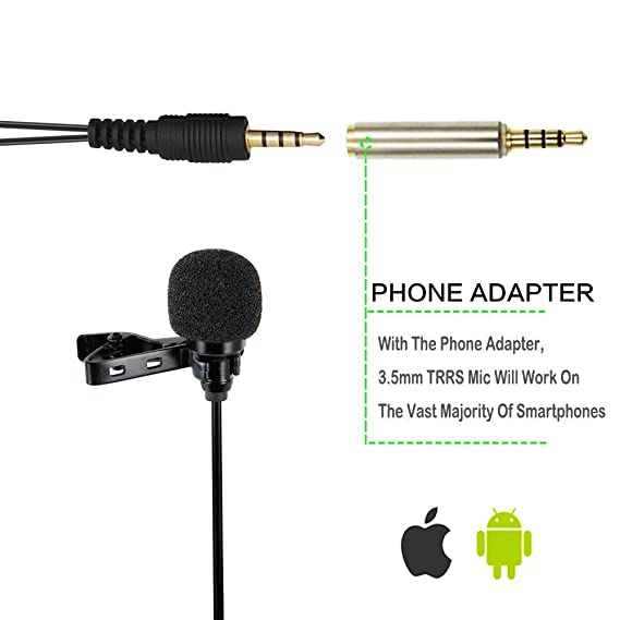 ... Lapel Clip-on Omnidirectional Condenser Mic for iphone,Android,PC,DSLR,Recording Youtube,Interview,Video Conference,Podcast: Musical Instruments
