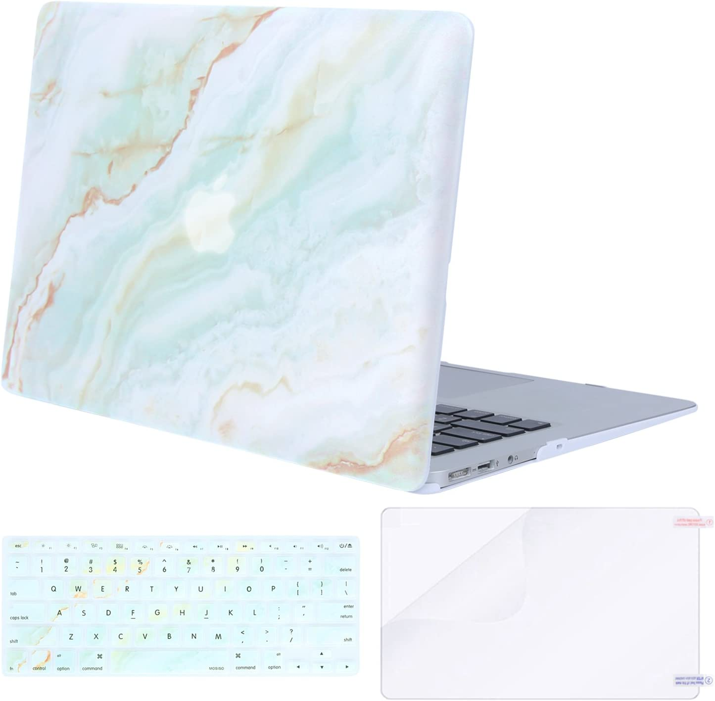 MOSISO MacBook Air 13 inch Case (A1369 & A1466, Older Version 2010-2017 Release), Plastic Pattern Hard Case&Keyboard Cover&Screen Protector Only Compatible with MacBook Air 13, White Green Marble