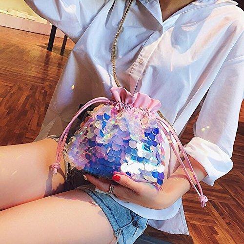 À Mini Seau 2018 GWQGZ Fourre Designer Bandoulière Femmes Sac Nouveau Sweet Chaîne Tout Main Mode Femmes Wild Bag À Lady Messenger Sac Sac Sequin nrvxpRUwn