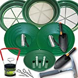 19 Piece Deluxe Gold Panning Kit with Classifiers, Tweezers, Pans, Rock Pick Hammer, and More