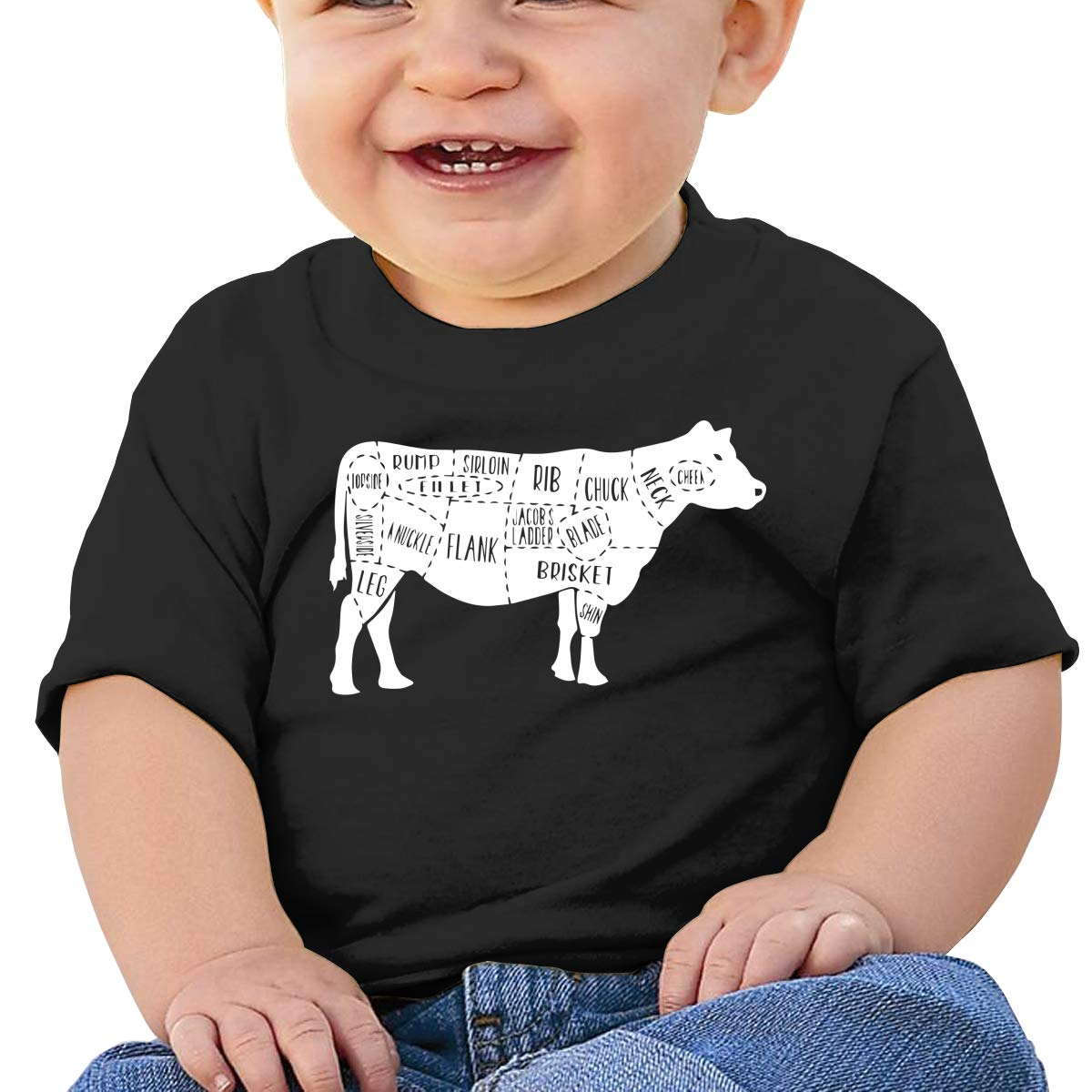 Beef Cow Meat Cut Baby Boys Girls Short Sleeve Crew Neck T-Shirt 6-18 Month Tops