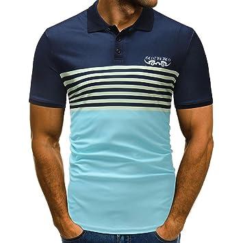 LuckyGirls Camisetas Hombre Verano Manga Corto Originales Remera Casual Slim Camisas Moda Cuello Abierto Rayas Polos (M,…