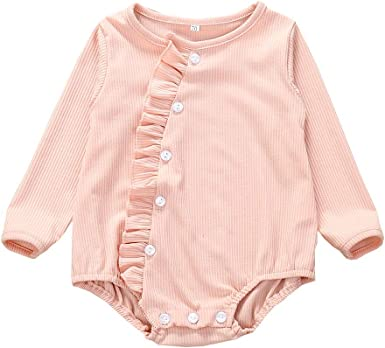 Amaone Infant Baby Clothes Sets Long Sleeve Solid Color Romper Jumpsuit Ruffle Frilly Bodysuit Girl Boy Outfits Sets for 0-24Months
