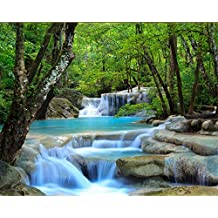 Wapel 3D Definition Forest Rivers Waterfalls Photos 3D Wallpapers Living Room Bedroom Decoration Photo Wallpaper Mural Silk cloth 250x175CM