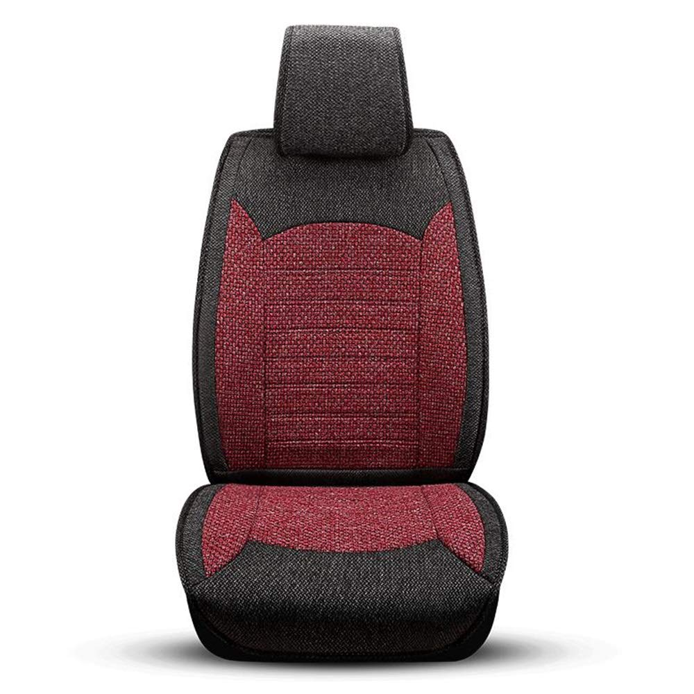 HUIFEI High-end Car Seat Shanghai Volkswagen Touran Seven-Seater Car Summer Wave Special Season Four Seasons Universal Linen All-Inclusive Pillow High-end car seat Cushion (Color : Red)