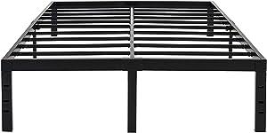 45MinST 18 Inch Maximum Storage Bed Frame/Reinforced Platform /3500lbs Heavy Duty/Easy Assembly/Mattress Foundation/Steel Slat/Noise Free, Twin/Full/Queen/King/Cal King (Queen)