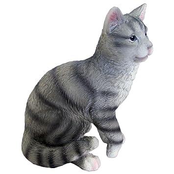Figura Gato, gato gris - Figura de resina para jardín y casa, aprox. 10 cm x 8 cm x 13 cm: Amazon.es: Jardín