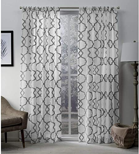 Exclusive Home Curtains Muse Geometric Jacquard Linen Sheer Window Curtain Panel Pair