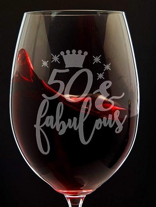 Copa de vino de 50 cumpleaños para hombre y mujer, copa de ...