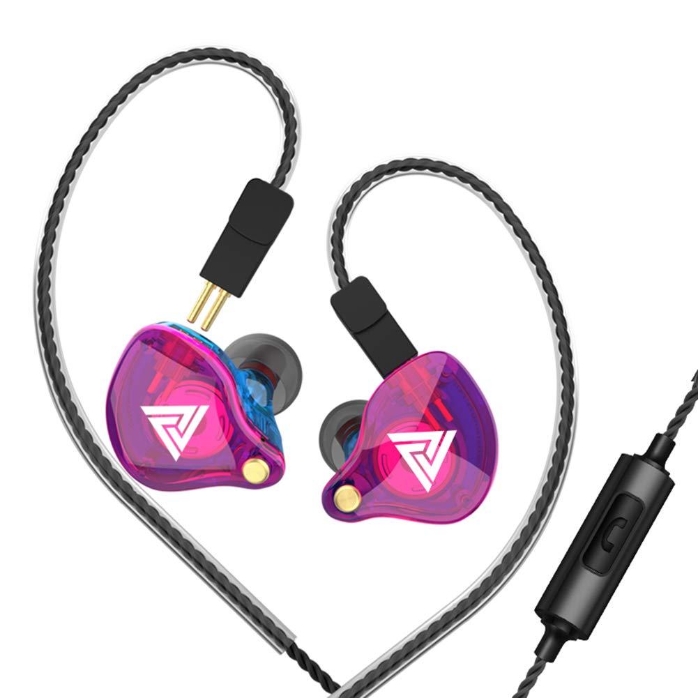 WYKsoku Bluetooth Earphones Headphones, QKZ VK4 Universal Detachable in-Ear Bass Wired Earphones Music Earbuds with Mic - Multicolor