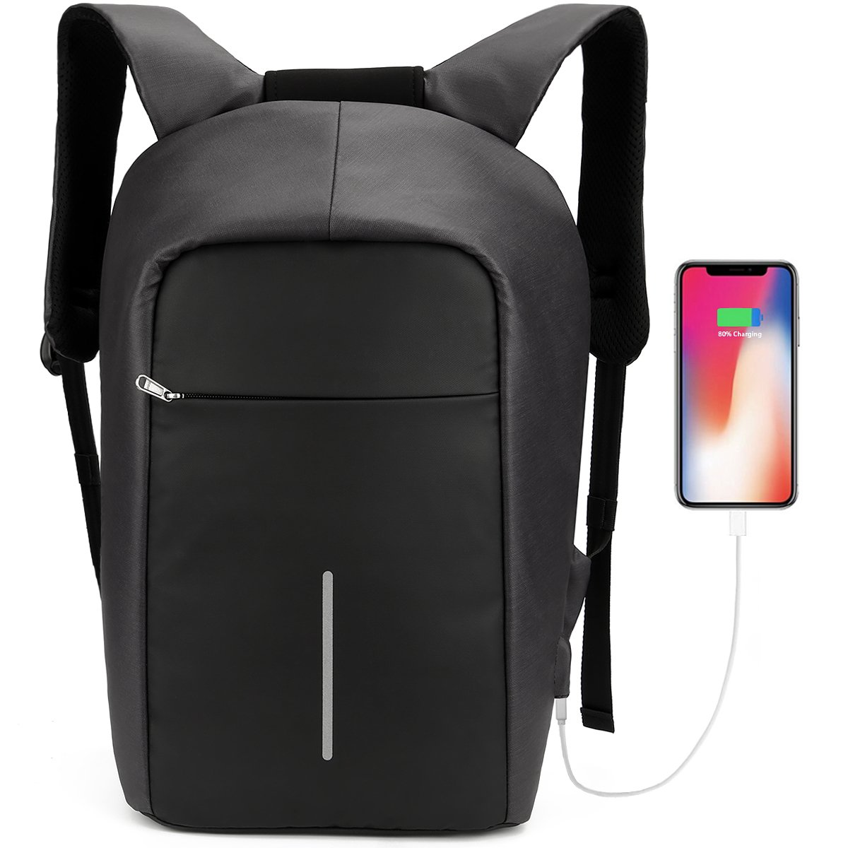 Travel Backpack Anti-theft Business Laptop Bag for 15.6 Inch Notebook, Tocode Water Resistant Schoolbag Casual Daypack with USB Charging Port for Men and Women Black