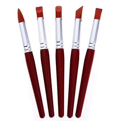 5pcs artista pintura cepillo Set Colorful batidora de pinceles de silicona profesional para pintar de carrocero