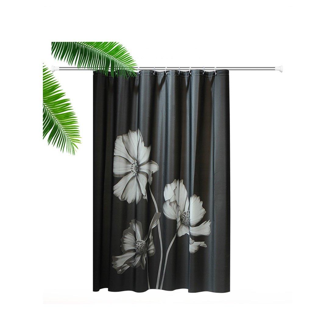 Curtain European-Style Black Flower Shower Curtains, partition Curtains, Waterproof Mildew Thickening Shower curtain180 180cm (71 71 inches) Shower Equipment