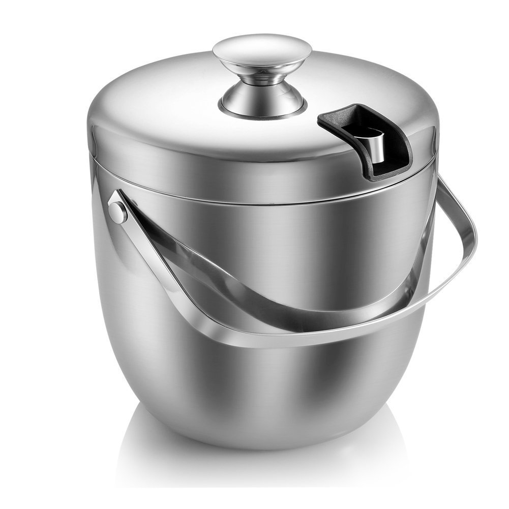 Ice Bucket, Insulated Stainless Steel Double Walled Ice Bucket with Lid, Stainless Steel Ice Tongs -2.8L-Silver Fortune Candy SYNCHKG105425