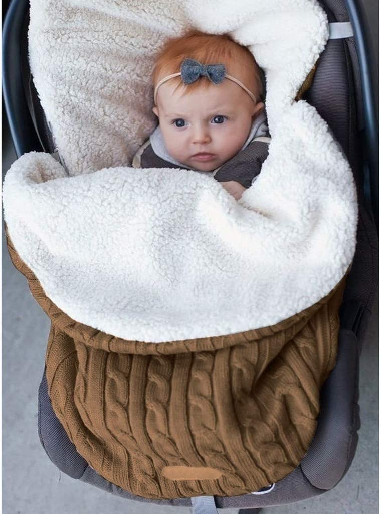 FlurriesBaby Stroller Sleeping Bag Swaddle 0-12 Months Infant Newborn Cover Mat Knit Fleece Lined Nap Blanket Wrap Footmuff Car Seat Carriage Sack Boy Girl Winter Cold Weather Outdoor