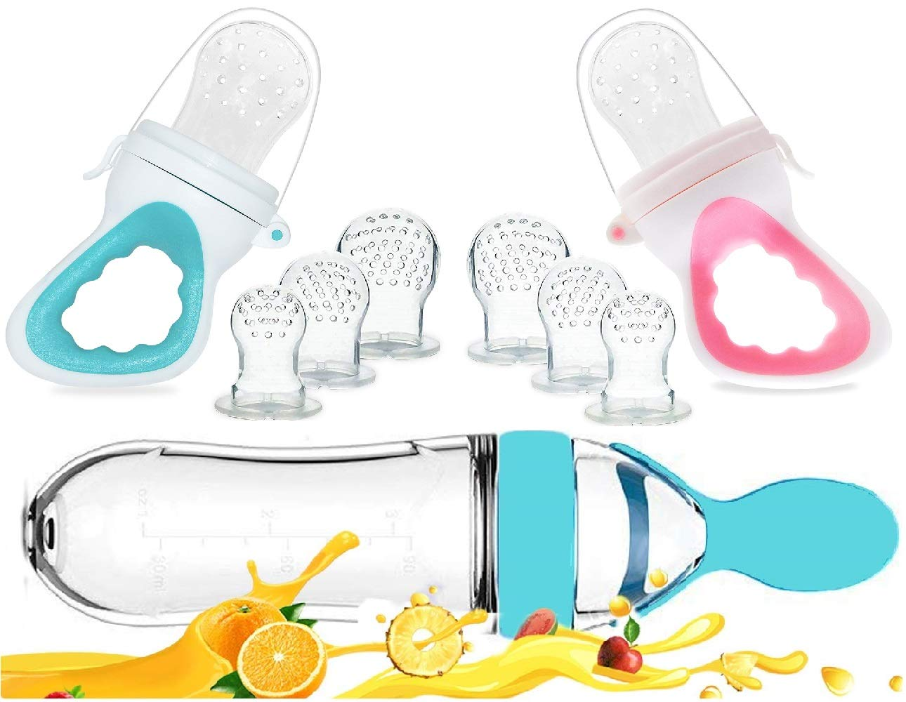 Baby Food Feeder, Fresh Food - 2 Pack Fruit Feeder Pacifier, 6 Different Sized Silicone Pacifiers | 1 Pack Baby Food Dispensing Spoon (Blue and Pink)