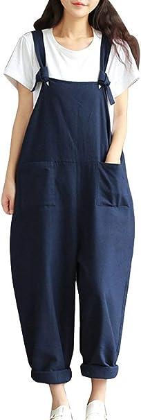 Salopette Femme Et/é Vintage Large Pantalon Sarouel Uni Manche Fille V/êtements avec Poches Casual Oversize Pluderhose Jumpsuit Playsuit