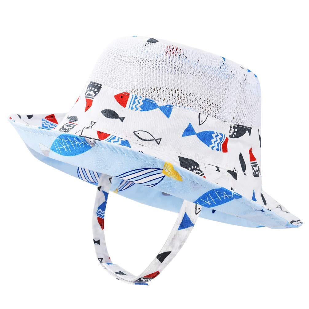 VBIGER Baby Sonnenhut Sonnenschutz Cap Baumwolle weicher Mütze Strandhut Kinder Sommerhut Netter Wal Wendehut für 1-6 Jahre Alt Jungen und Mädchen, Blau-weiß, 50 cm (1-2 Jahre)