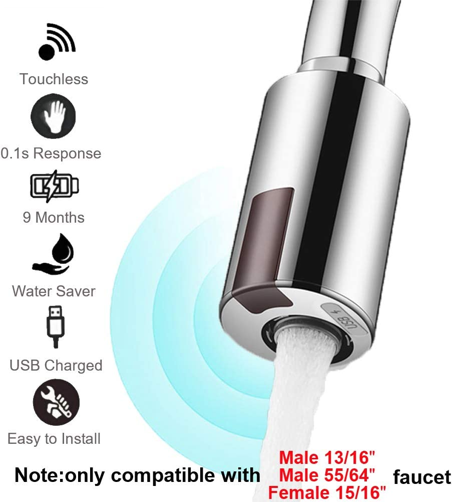 """Smart Touchless Faucet Adapter for Kitchen and Bathroom, Automatic Faucet Adapter Motion Sensor, Compatible with Male 55/56"""" Female 15/16"""", Touchless Kitchen Faucet, Sink Faucet, Economical Faucet by MGDC - -"""