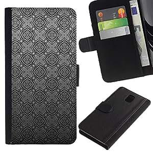 SAMSUNG Galaxy Note 3 III / N9000 / N9005 Modelo colorido cuero carpeta tirón caso cubierta piel Holster Funda protección - Grey Gray Checkered Wallpaper Pattern