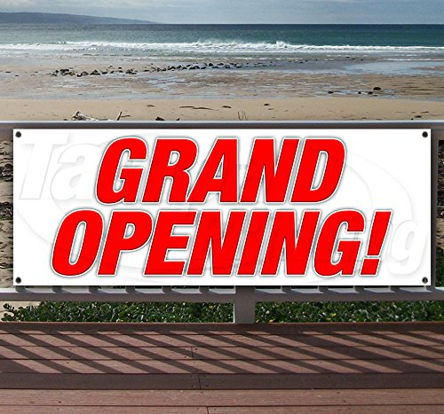 Grand Opening 13 oz Heavy Duty Vinyl Banner Sign with Metal Grommets, New, Store, Advertising, Flag, (Many Sizes Available) (Outdoor Banner Opening)