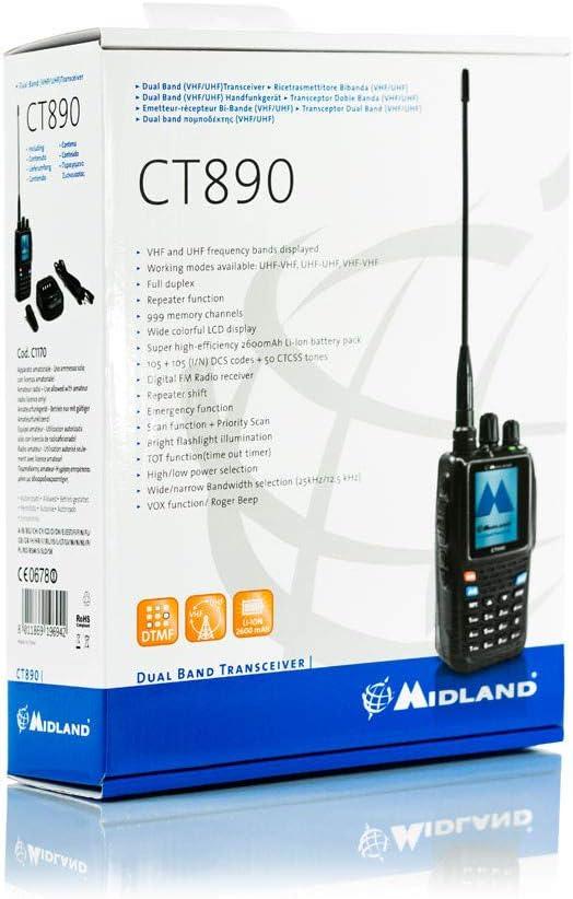 Midland CT-890 - Walkie Talkie multifunción, Dual Band VHF/UHF, Color Negro