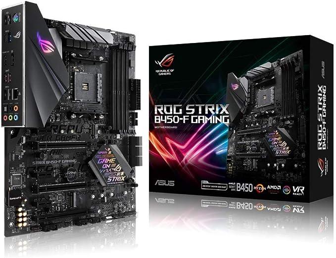 ASUS ROG STRIX B450-F GAMING - Placa base de gaming ATX AMD AM4 B450 con soporte DDR4 3200 MHz, SATA 6 Gbps, HDMI 2.0, dos M.2 NVMe, USB 3.1 Gen. 2 e iluminación Aura Sync RGB LED, soporta Ryzen 3000