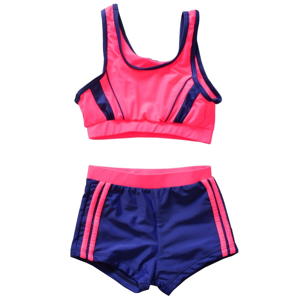 Shiningup Girl Swimwear Competitive 2 Pieces Bikini Set Top and Short Swimsuit for 5-12 Years Old Little Kid