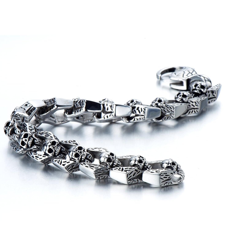 Amazoncom Biker Bracelet Gothic Skull Stainless Steel Bracelet for