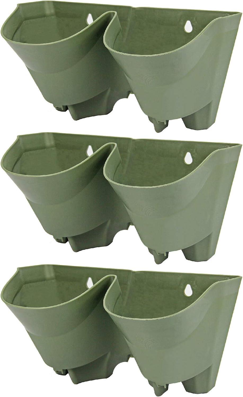 Worth Garden Lot de 3 Pots de Fleurs artificielles Vert Olive ...