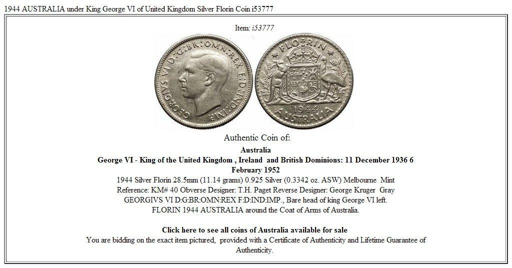 1944 Australia Under King George Vi Of United Kingdom Silver Florin Coin I53777 Coins: World