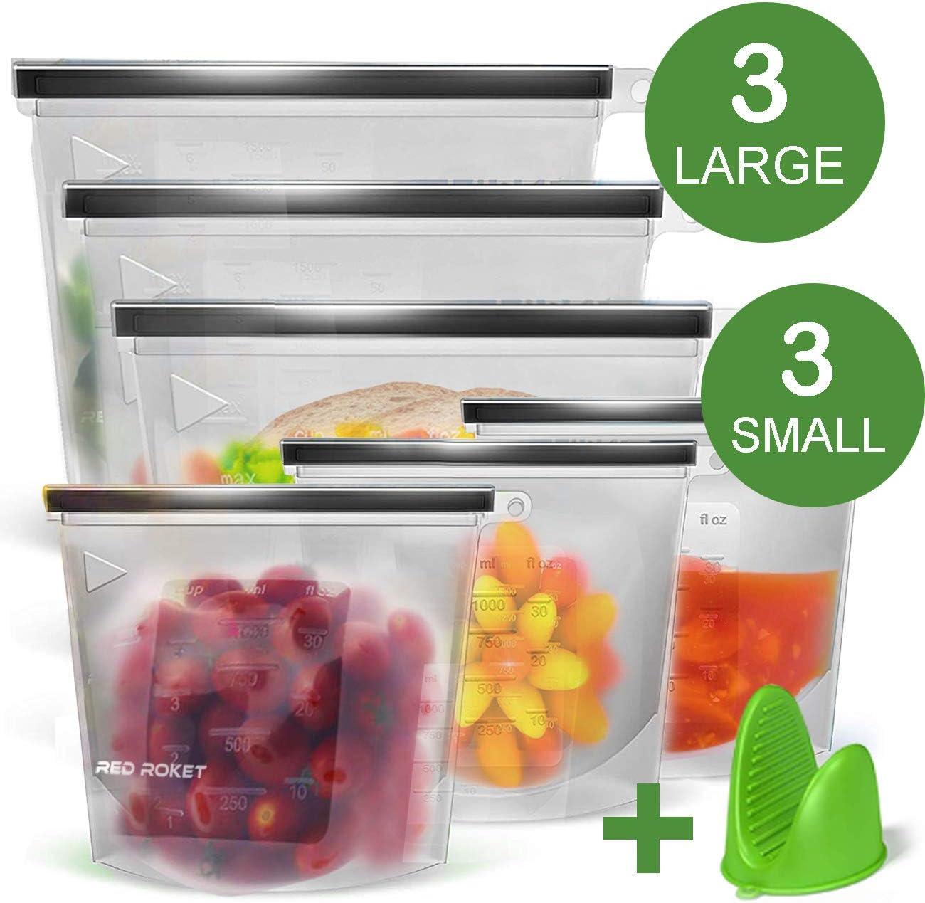 Redrocket Silicone Food Storage Bag - Leakproof, Freezer, Microwave, dishwasher safe for Sandwich, vegetable, Fruit, Meat, Lunch ,Snack, 6 Pack
