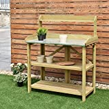 Giantex Outdoor Garden Wooden Potting Work Bench Station Planting Workbench W/ 3 Shelf(Light Cyan)